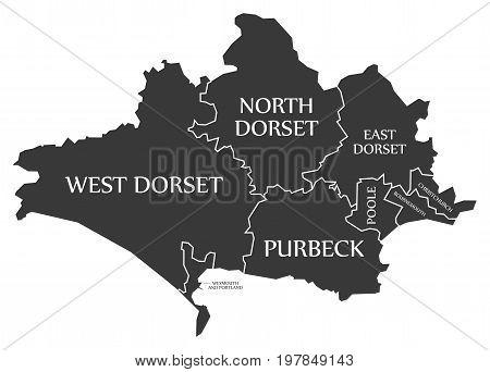 Dorset County England Uk Black Map With White Labels Illustration