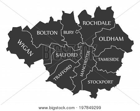 Greater Manchester Metropolitan County England Uk Black Map With White Labels Illustration