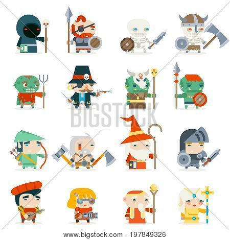 Fantasy RPG Heroes Game Villains Minions Character Vector Icons Set Flat Design Vector Illustration