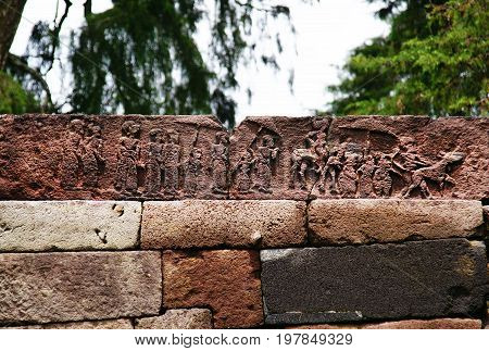 The relief of sukuh temple in Indonesia