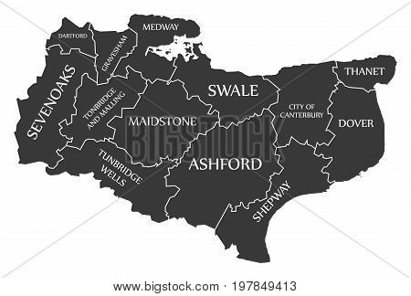 Kent County England Uk Black Map With White Labels Illustration
