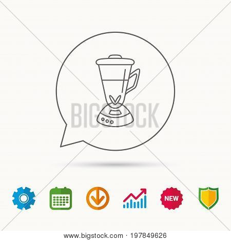 Mixer icon. Blender sign. Kitchen electric tool symbol. Calendar, Graph chart and Cogwheel signs. Download and Shield web icons. Vector
