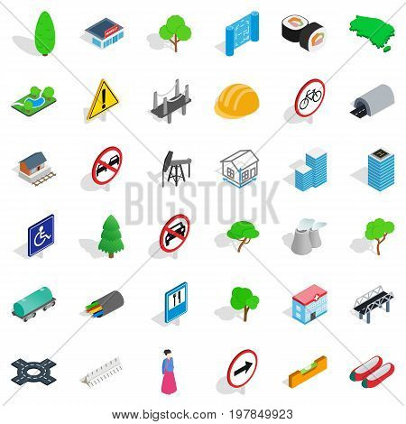 Plant tower icons set. Isometric style of 36 plant tower ector icons for web isolated on white background