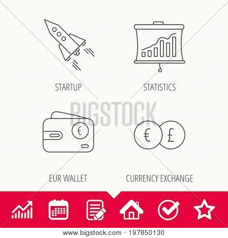 Currency exchange, cash money and startup icons. Wallet, statistics linear signs. Edit document, Calendar and Graph chart signs. Star, Check and House web icons. Vector