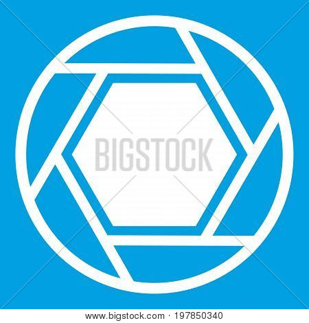 Close objective icon white isolated on blue background vector illustration