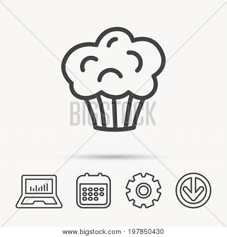 Muffin icon. Cupcake dessert sign. Bakery sweet food symbol. Notebook, Calendar and Cogwheel signs. Download arrow web icon. Vector