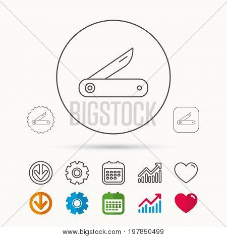 Multitool knife icon. Multifunction tool sign. Hiking equipment symbol. Calendar, Graph chart and Cogwheel signs. Download and Heart love linear web icons. Vector