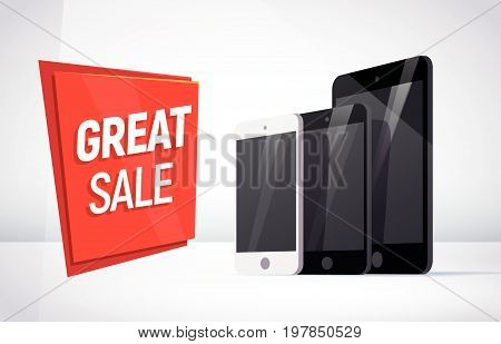 Vector smartphone and tablet collection isolated on white background. Gadget portable advertisement flat illustration. Good foe web banner, poster, teaser design.