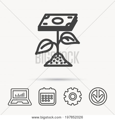 Profit icon. Money savings sign. Flower with cash money symbol. Notebook, Calendar and Cogwheel signs. Download arrow web icon. Vector
