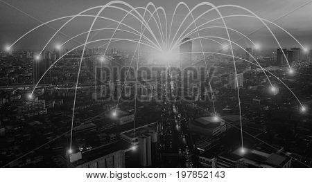 Business networking connection concept and Wi-Fi in city. Technology communication The wireless communication High Speed Internet Optical fiber Background blur building in the capital