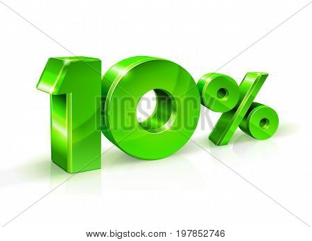 Glossy green 10 Ten percent off, sale. Isolated on white background, 3D object. Vector illustration.