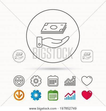 Save money icon. Hand with cash sign. Investment or savings symbol. Calendar, Graph chart and Cogwheel signs. Download and Heart love linear web icons. Vector