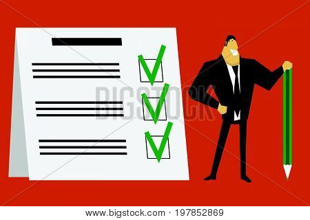 Businessman holding a green pencil near at completed checklist on clipboard. Vector illustration.