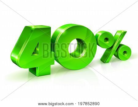 Glossy green 40 Forty percent off, sale. Isolated on white background, 3D object. Vector illustration.