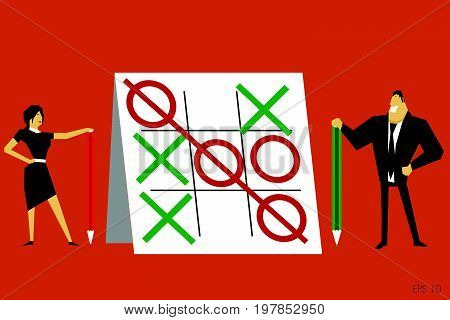 Businesswoman and holding businessman  a color pencils s looking at completed Tic-tac-toe on clipboard. Vector illustration.