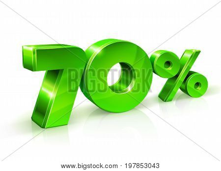 Glossy green 70 Seventy percent off, sale. Isolated on white background, 3D object. Vector illustration.