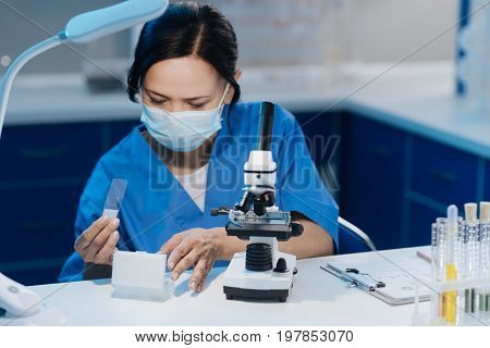 For the research. Smart nice pleasant biologist sitting at the table and holding a microscope sample slide while conducting a research in the lab