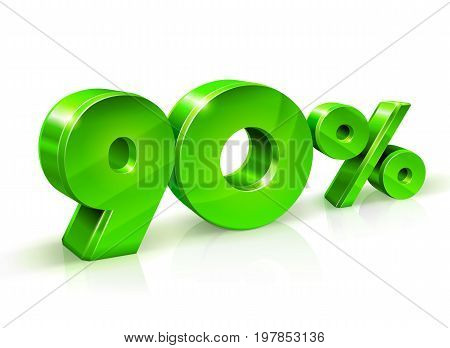 Glossy green 90 Ninety percent off, sale. Isolated on white background, 3D object. Vector illustration.
