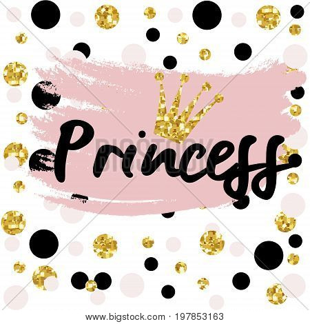 Cute bunting as festive glitter letters and crown for your decoration, can be used for birthday or baby shower invitation card