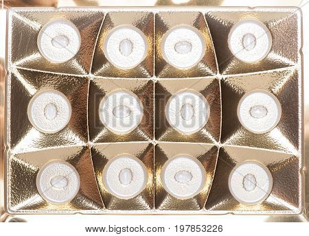 Golden plastic texture with dots
