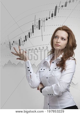 Finance data concept. Woman working with Analytics. Chart graph information with Japanese candles on digital screen.