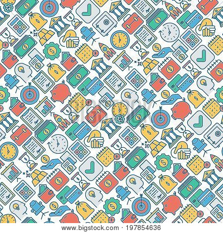 Business and finance seamless pattern with thin line icons related to financial strategy, planning, human thinking and start up. Vector illustration for banner, web page, print media.