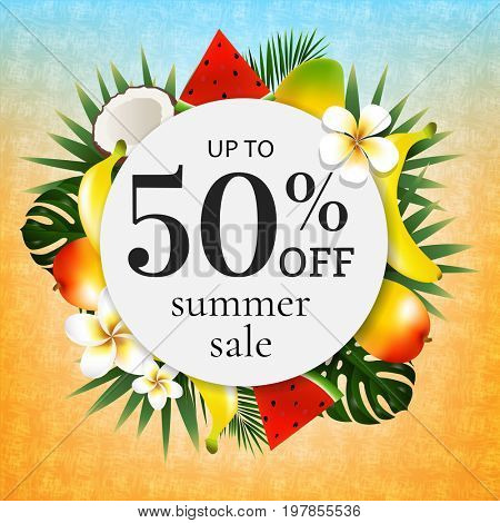 Sale Poster With Tropical Frame