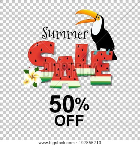 Summer Sale Poster With Toucan