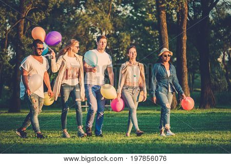 Multi-ethnic group of friends having party in a park