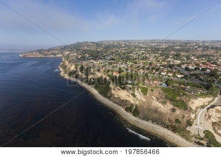 Southern California coast aerial view of Rancho Palos Verdes in Los Angeles County.