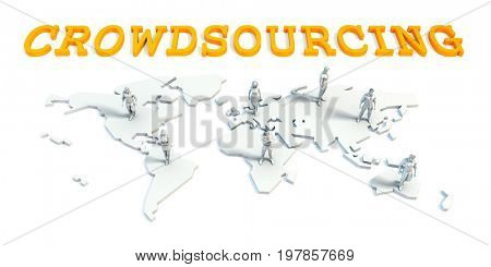 Crowdsourcing Concept with a Global Business Team 3D Illustration Render