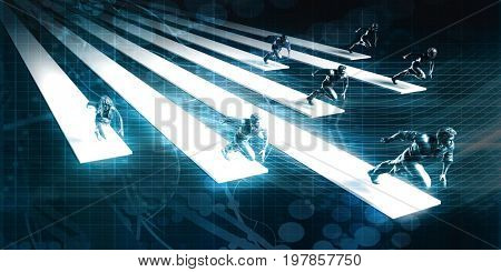 Business People Working Together and Running in the Same Direction 3D Illustration Render