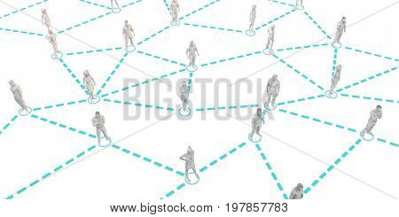 Community Population of Men and Women Workers Linked Together 3D Illustration Render