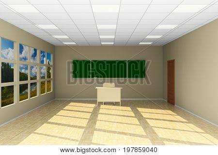 Empty classroom with blackboard. 3D illustration