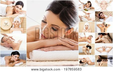 Massage collection. Health care, healing and medicine concept. Beautiful women in spa. Hot stones, massaging balls and vacuum cupping.