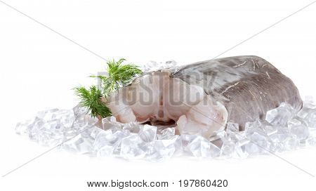 Raw catfish fillet with spices. Isolated on white background