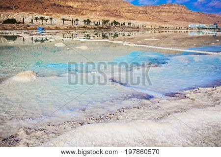 Hot summer day in Israel. The evaporated salt has developed into fantastic patterns. Walk on the Dead Sea. The concept of medical and ecological tourism