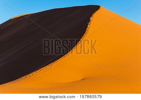 Tourists climb to the top of the dune. The most ancient in the world Namib Desert at sunset. Namibia, South Africa. The concept of extreme and exotic tourism