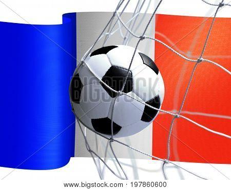 soccer ball in goal net on French flag background