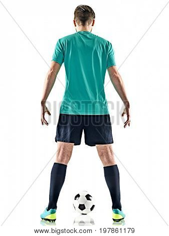 one caucasian soccer player man standing Rear View with football isolated on white background