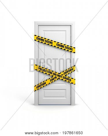 Closed door with yellow police tape and text: police line do not cross. 3d illustration
