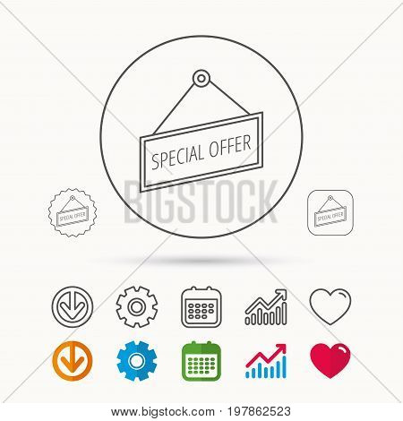 Special offer icon. Advertising banner tag sign. Calendar, Graph chart and Cogwheel signs. Download and Heart love linear web icons. Vector