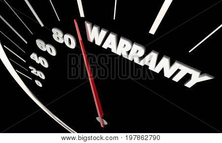 Warranty Vehicle Protection Coverage Speedometer Measure Results 3d Illustration