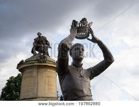 Stratford-upon-Avon, UK - 25 July 2017: Statue of William Shakespeare's Prince Hal, Gower Memorial, Bancroft Gardens, Stratford-upon-Avon, Warwickshire, England, UK