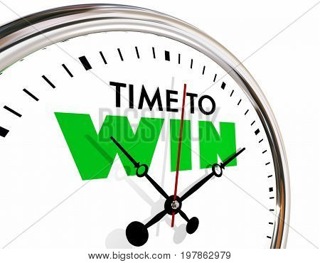 Time to Win Succeed Successful Clock Hands Ticking 3d Illustration