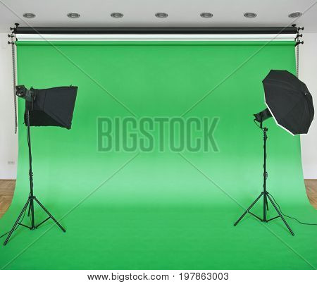 Empty Green Studio Backdrop with Softboxes