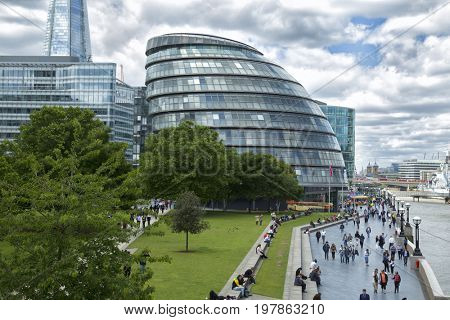 LONDON, UK - JUNE 7 , 2017: City Hall is the headquarters of the Greater London Authority,  It is located in Southwark, on the south bank of the River Thames near Tower Bridge