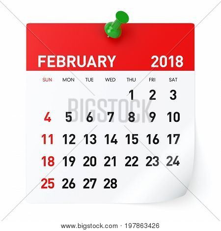February 2018 - Calendar