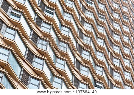 full frame of glass building exterior pattern.