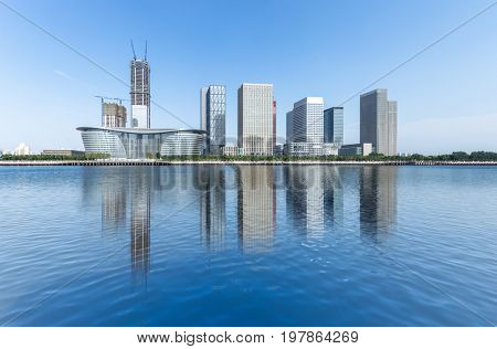Dalian city waterfront downtown skyline ,China.